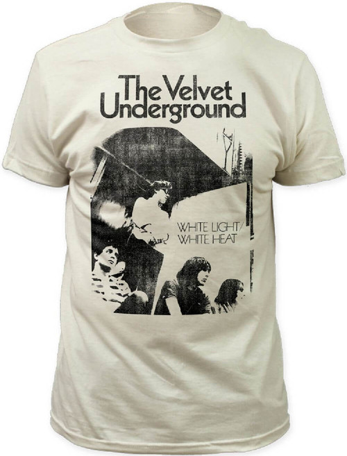 The Velvet Underground White Light/White Heat Back Album Cover Artwork Men's White Vintage T-shirt