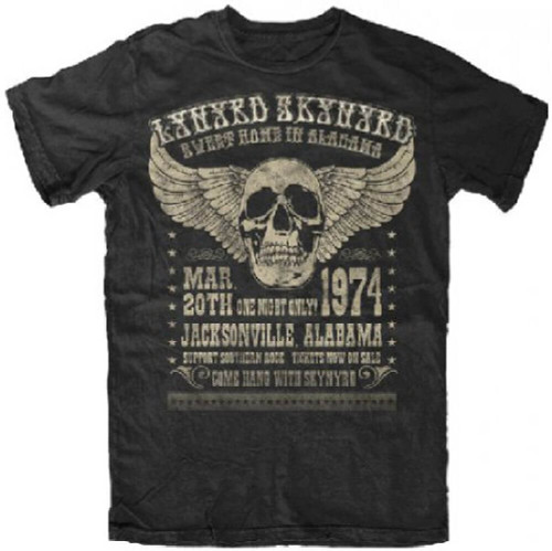 Lynyrd Skynyrd March 20, 1974 Jacksonville Alabama Concert Promotional Poster Artwork Men's Black T-shirt