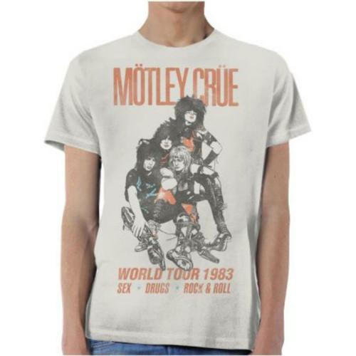 Motley Crue World Tour 1983 Sex, Drugs, Rock & Roll Men's Unisex Gray Vintage Fashion Concert T-shirt