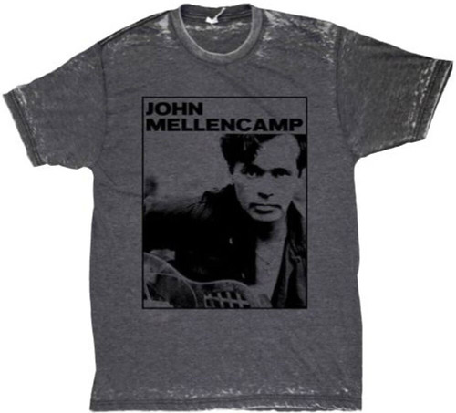 John Mellencamp Classic Photograph Men's Gray Vintage T-shirt