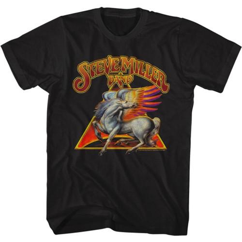 Steve Miller Band Pegasus Winged Horse Logo Men's Unisex Black Fashion T-shirt