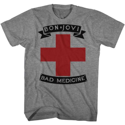 Bon Jovi Bad Medicine Song Title Men's Unisex Gray Fashion T-shirt