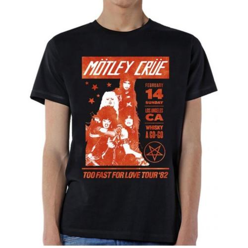 Motley Crue Too Fast for Love Tour February 14, 1982 Whiskey A Go-Go Men's Unisex Black Vintage Concert T-shirt