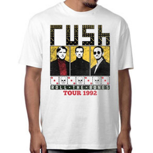 Rush Roll the Bones Tour 1992 Men's Unisex White Vintage Fashion Concert T-shirt - model