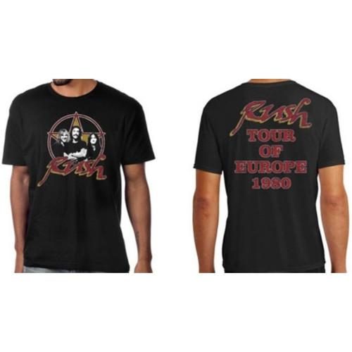 Rush Tour of Europe 1980 Men's Unisex Black Vintage Fashion Concert T-shirt - model