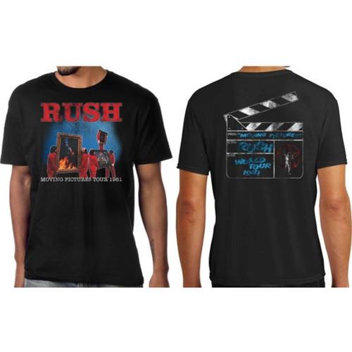 Rush Moving Pictures Tour 1981 Men's Unisex Black Vintage Fashion Concert T-shirt - model