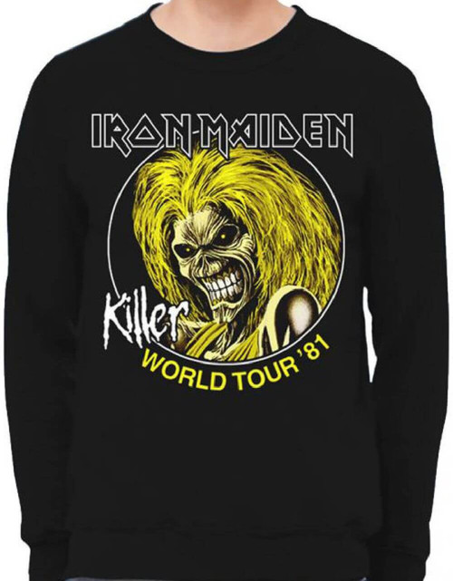 Iron Maiden Killer World Tour 1981 Black Vintage Concert Sweatshirt
