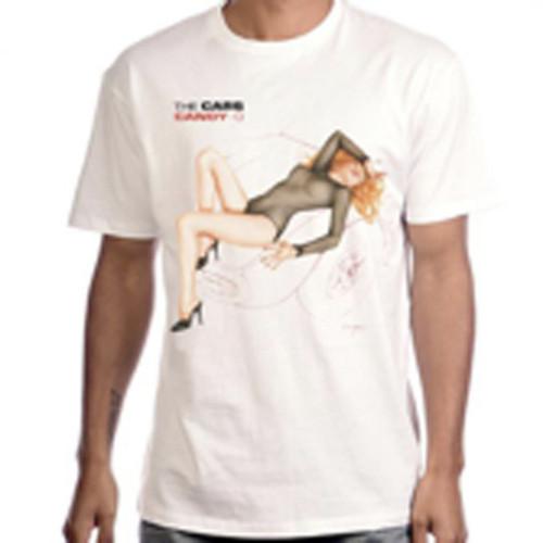 The Cars Candy-O Album Cover Artwork Men's Unisex White Vintage Fashion T-shirt - model
