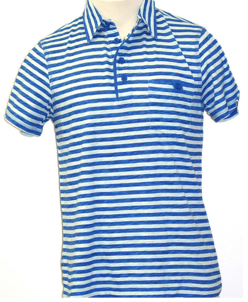 Generra Collection Clothing Second Skin Clothes Men's Polo Shirt - Blue with Light Blue Stripes