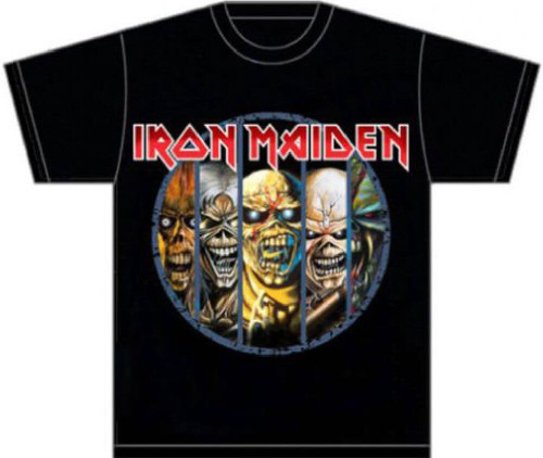 Iron Maiden Eddie the Head Mascot Logo Versions Men's Black T-shirt