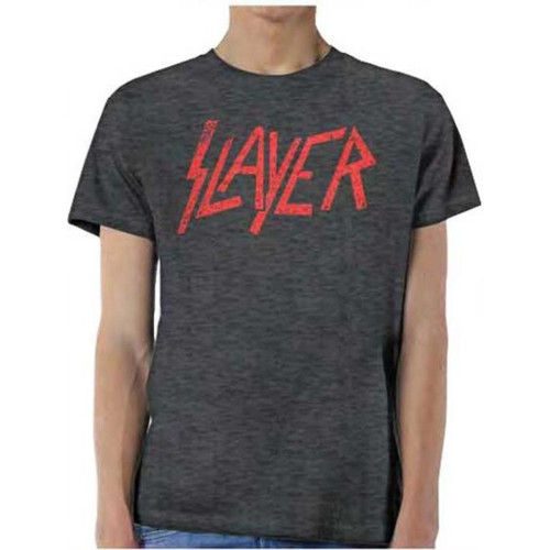 Slayer Logo Men's Unisex Gray Vintage Fashion T-shirt