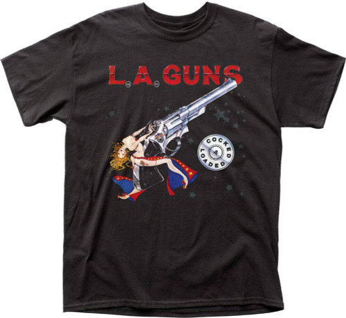 LA Guns Cocked and Loaded Album Cover Artwork Men's Black T-shirt