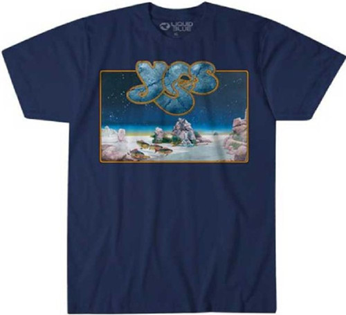 Yes Tales from Topographic Oceans Album Cover Artwork Men's Blue T-shirt
