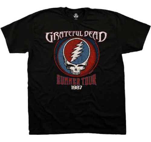 Grateful Dead Summer Tour 1987 with Vector Skull Logo Men's Black Vintage T-shirt