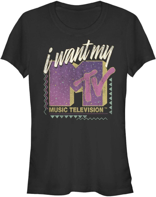 MTV I Want My MTV Classic Advertising Slogan Women's Black Vintage T-shirt