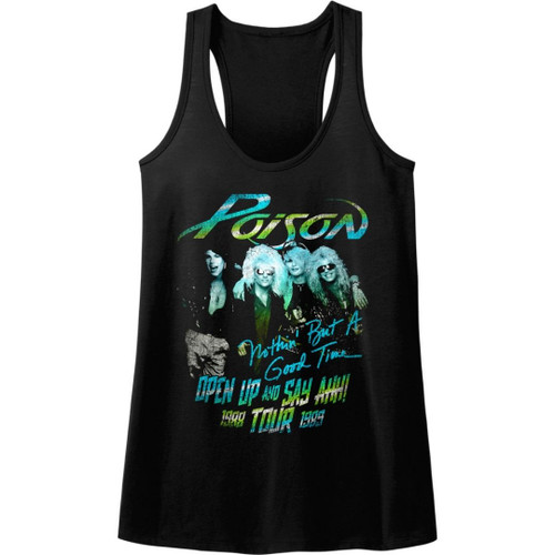 Poison Open Up and Say Ahh Tour 1988-1989 Women's Black Vintage Racerback Tank Top Fashion Concert T-shirt
