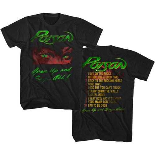 Poison Open Up and Say...Ahh Album Cover Artwork with Song List Men's Unisex Black Vintage Fashion T-shirt
