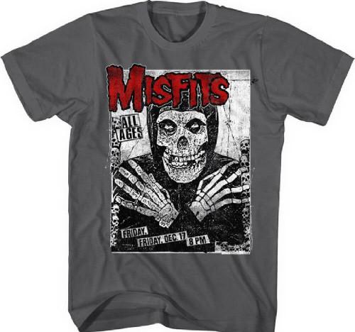 Misfits Concert Promotional Poster Artwork Men's Gray Vintage Concert T-shirt