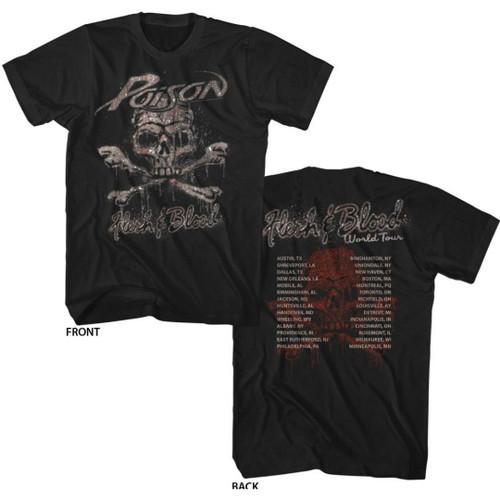 Poison Flesh and Blood World Tour Men's Unisex Black Vintage Fashion Concert T-shirt
