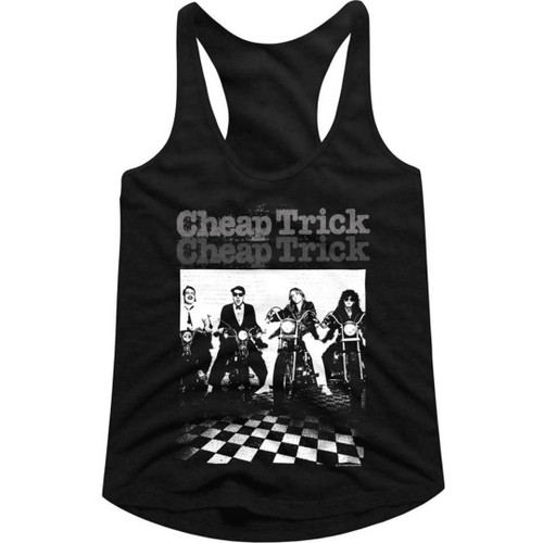 Cheap Trick Band Members on Motorcycles with Checkerboard Floor Photograph Women's Black Vintage Racerback Tank Top Fashion T-shirt