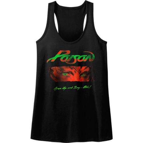 Poison Open Up and Say...Ahh Album Cover Artwork Women's Black Racerback Tank Top Fashion T-shirt