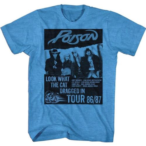 Poison Look What the Cat Dragged In Tour 1986/1987 Men's Unisex Blue Vintage Fashion Concert T-shirt
