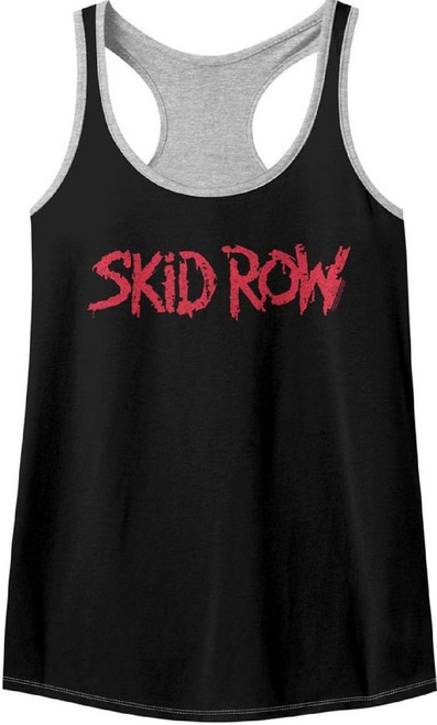Skid Row Rock Band Logo Women's Black and Gray Racerback Tank Top Fashion T-shirt