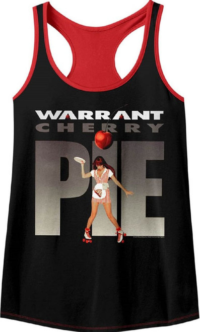 Warrant Rock Band Cherry Pie Album Cover Artwork Women's Black and Red Tank Top Racerback Fashion T-shirt