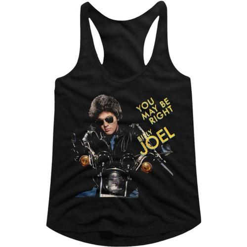 Billy Joel You May Be Right Song Single Album Cover Artwork Women's Black Racerback Tank Top Fashion T-shirt