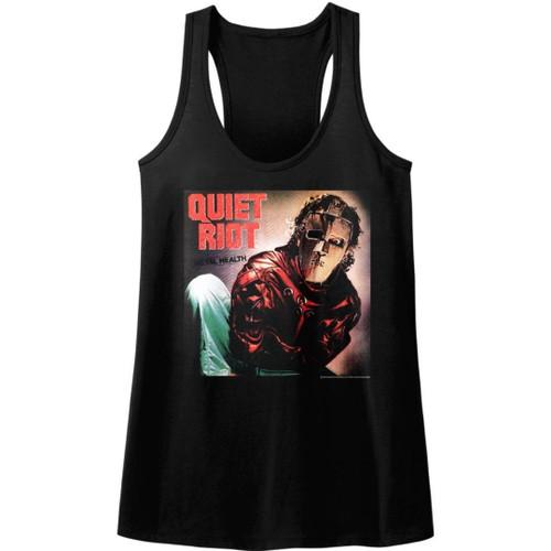 Quiet Riot Metal Health Album Cover Artwork Women's Black Racerback Tank Top Fashion T-shirt