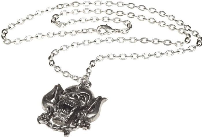 Motorhead Snaggletooth War Pig Logo Pewter Necklace