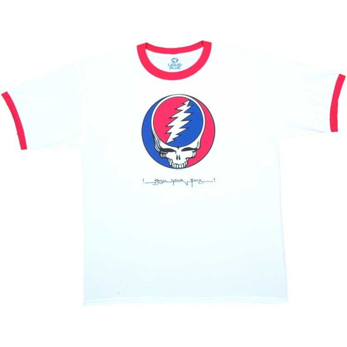 Grateful Dead Steal Your Face Album Cover Artwork Men's Unisex Retro Fashion Ringer T-shirt