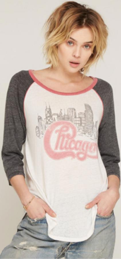 Chicago Rock Band Logo Women's Vintage White and Gray Raglan Baseball Jersey by Trunk Ltd.