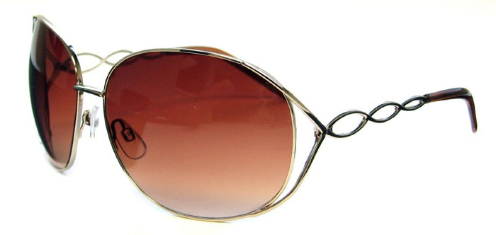 Esprit 1970s Retro Glam Inspired Women's Oversized Oval Sunglasses with Silver Metal Frame and Rose Pink Lenses