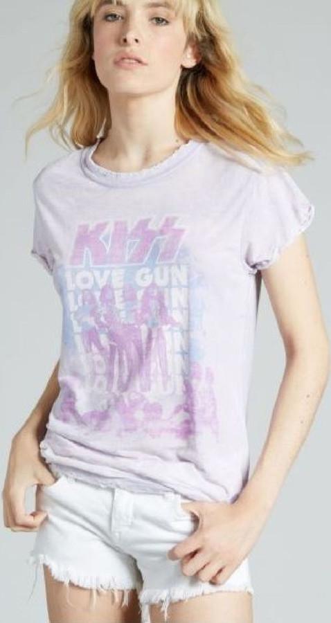Kiss Love Gun Album Cover Artwork Women's Purple Vintage Fashion T-shirt by Recycled Karma