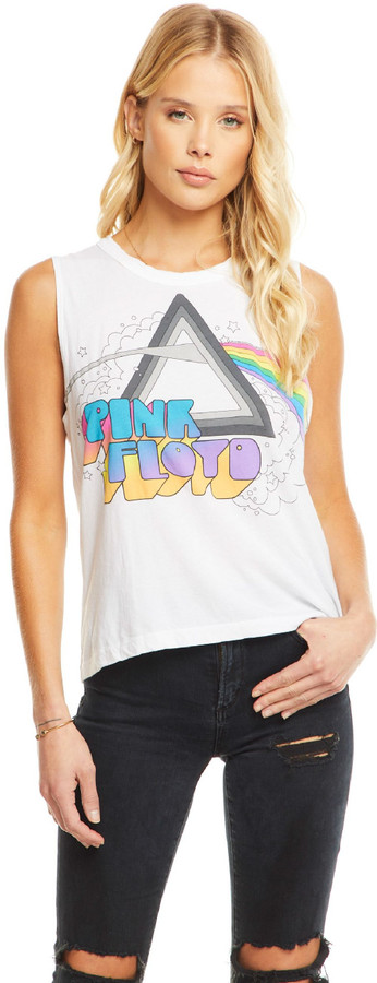 Pink Floyd The Dark Side of the Moon Album Art Women's White Vintage Sleeveless Muscle Fashion T-shirt by Chaser - front