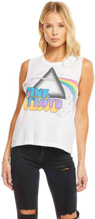 43e241b6 Pink Floyd Sleeveless Fashion T-shirt - The Dark Side of the Moon Album Art  | Women's White Vintage Muscle Shirt by Chaser