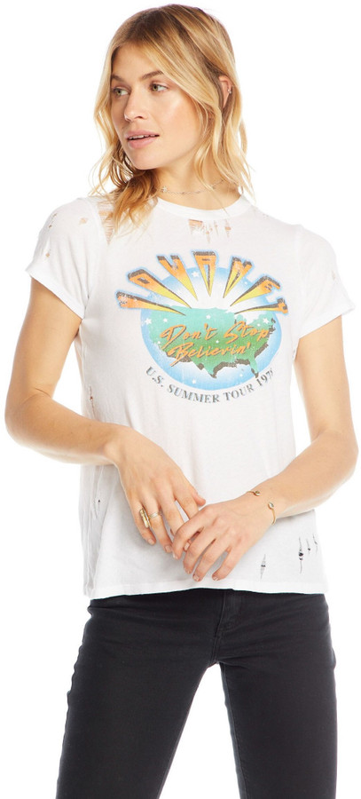 fcefb6e65db264 Journey Fashion Concert T-shirt - US Summer Tour 1978 Don't Stop Believing  | Women's White Vintage Distressed Shirt by Chaser