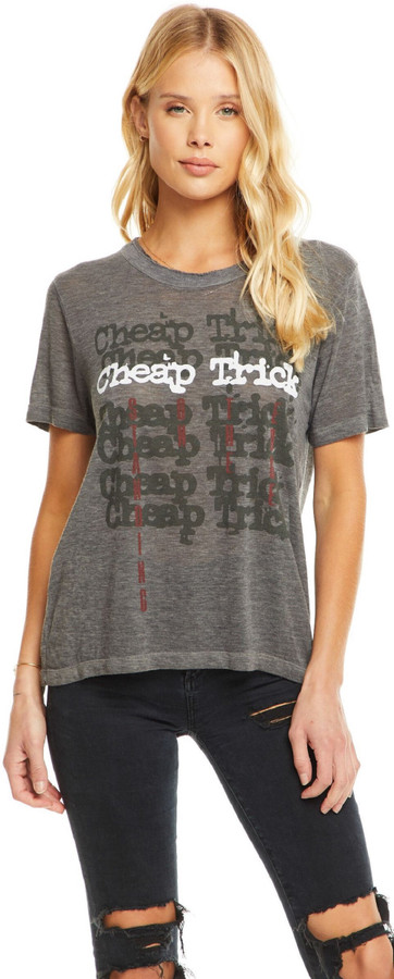 Cheap Trick Stacked Band Logo with Standing On the Edge Album Title Women's Gray Vintage Fashion T-shirt by Chaser - front