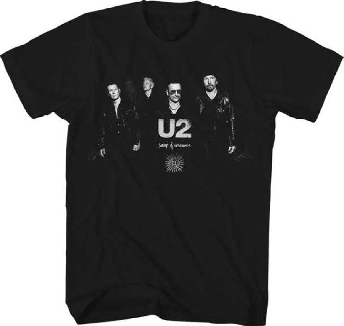 U2 Band Member Photograph Songs of Innocence Album Title Men's Black T-shirt