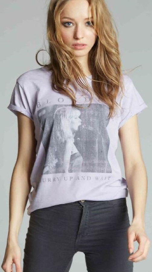 Blondie Debbie Harry Classic Photograph Hurry Up and Wait Sunday Girl Lyrics Women's Vintage Lavender Fashion T-shirt by Recycled Karma