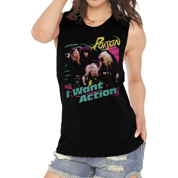 Poison I Want Action Song Single Album Cover Artwork Women's Black Vintage Sleeveless Muscle Tank Top Fashion T-shirt - model