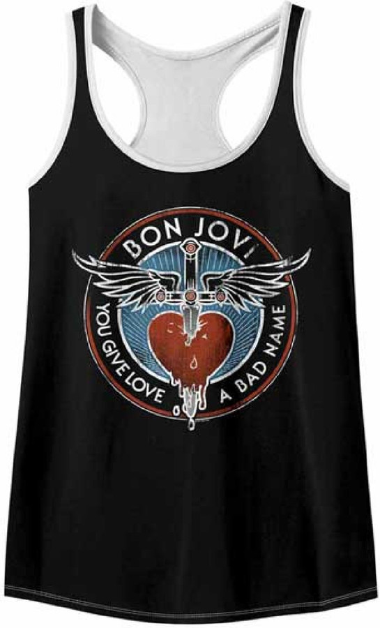 Bon Jovi Heart and Dagger Logo You Give Love a Bad Name Song Title Women's Black with White Vintage Tank Top T-shirt