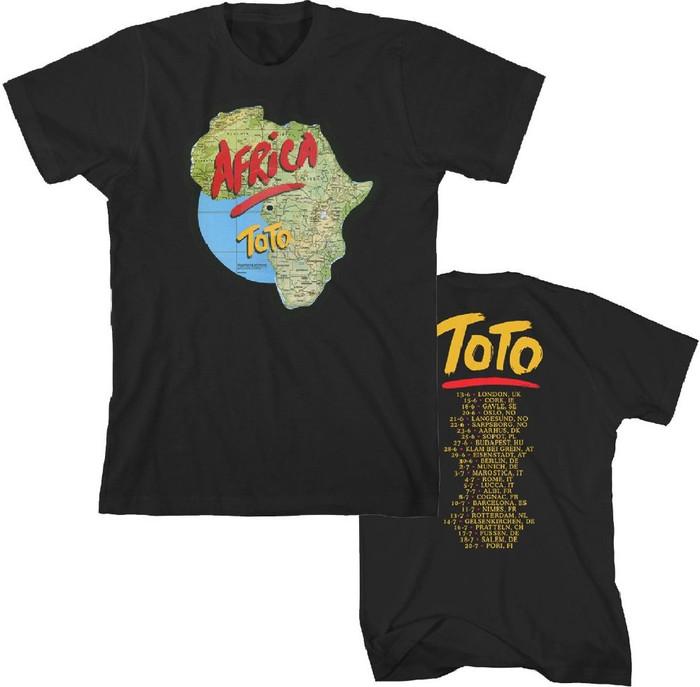 Toto Africa World Tour Men's Black Vintage Concert T-shirt