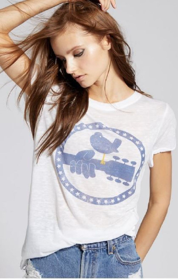 Woodstock Peace Dove Logo 3 Days of Peace & Music Slogan Women's White Vintage Fashion T-shirt by Recycled Karma - front