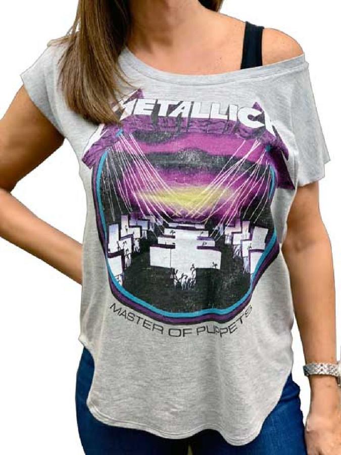 Metallica Master of Puppets Album Cover Artwork Women's Gray Vintage Dolman Fashion T-shirt