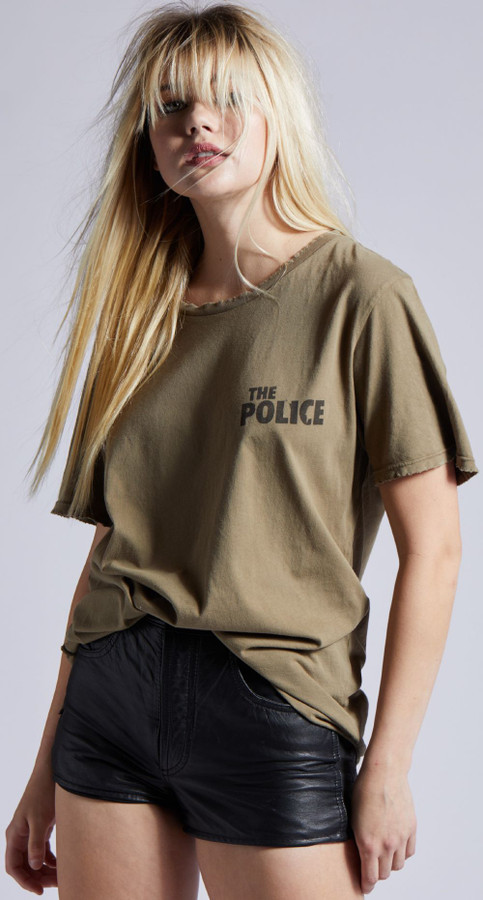 The Police Zenyatta Mendatta Logo Don't Stand So Close to Me Song Title Women's Olive Green Vintage Fashion T-shirt by Recycled Karma - front