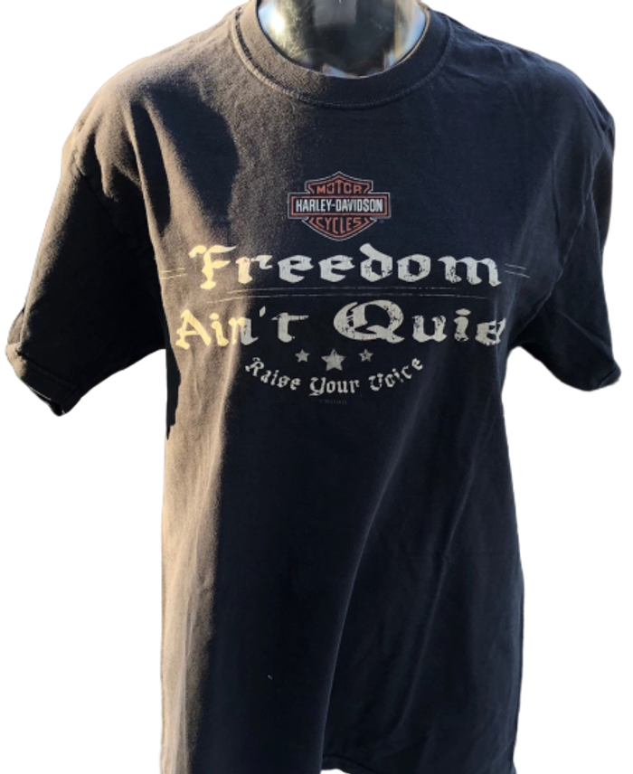 Harley Davidson Motorcycle Logo Freedom Ain't Quiet Slogan Longhord Grand Prairie Texas Dealership Black Unisex Vintage Fashion Re-Purposed T-shirt by Trendy and Tipsy - front