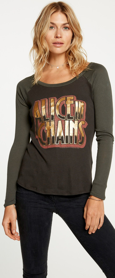 Alice in Chains Logo Women's Vintage Fashion Safari Green and Black Long Sleeve Raglan Baseball Jersey T-shirt by Chaser - 1
