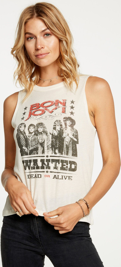Bon Jovi Wanted Dead or Alive Women's Vintage White Sleeveless Muscle Fashion T-shirt by Chaser - left
